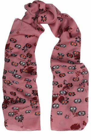 Шелковая шаль с принтом Valentino. Цвет: розовый