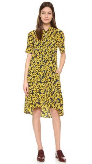 Платье-рубашка с принтом в виде маргариток Whistles. Цвет: голубой