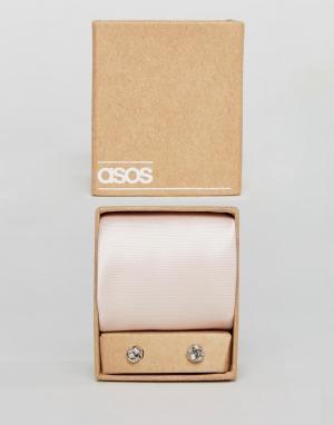 ASOS Розовый галстук и запонки Wedding. Цвет: розовый