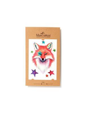 Акварельные переводные тату  Miami Tattoos Fox. Цвет: сиреневый, белый, оранжевый