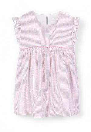 Платье Mango Kids. Цвет: розовый