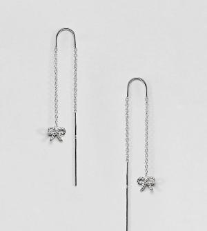 Olivia Burton Серебряные серьги в винтажном стиле с цепочками и бантами Burto. Цвет: серебряный