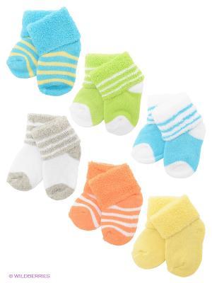Носки, 6 пар Luvable Friends. Цвет: серый, салатовый, голубой, оранжевый, желтый, белый