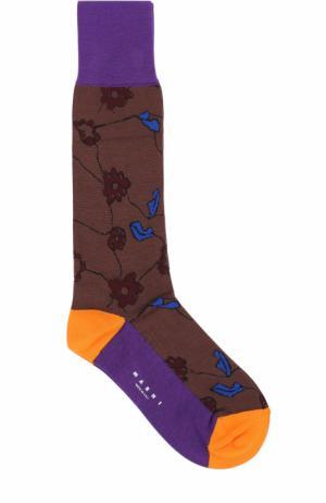 Хлопковые носки с принтом Marni. Цвет: коричневый
