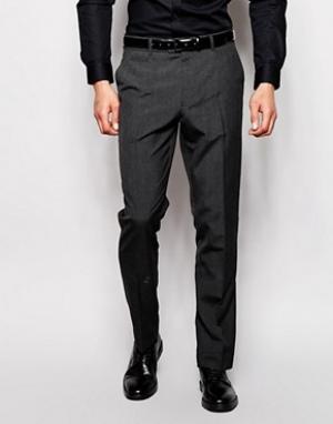 ASOS Темно-серые строгие узкие брюки для офиса. Цвет: серый