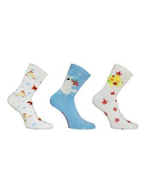 Носки, 3 пары Master Socks. Цвет: молочный, бирюзовый