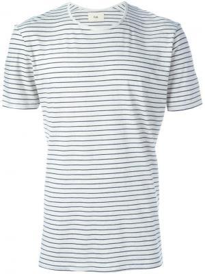 Полосатая футболка Folk. Цвет: белый
