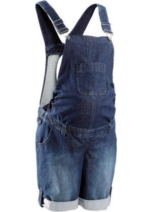 Мода для беременных: джинсовый полукомбинезон (темно-синий «потертый») bonprix. Цвет: темно-синий «потертый»