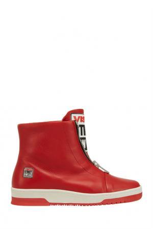 Кожаные кеды Vision 8 Red Swear. Цвет: красный