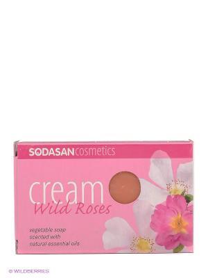 Мыло-крем туалетное твердое глицериновое Дикая роза, 100 гр Sodasan. Цвет: розовый
