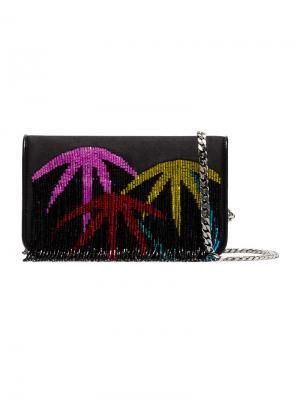 Клатч Palm Tree с бахромой Les Petits Joueurs. Цвет: чёрный