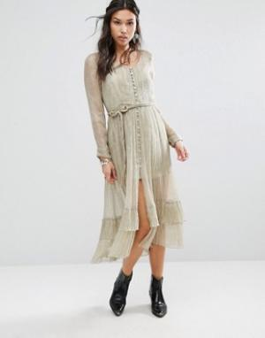 Free People Платье макси с блестками. Цвет: зеленый