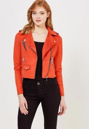 Куртка кожаная River Island. Цвет: оранжевый