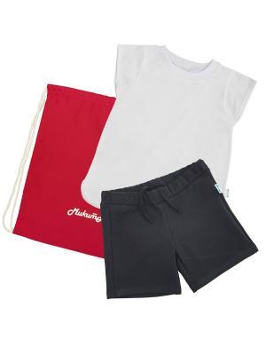 Комплект для физкультуры девочки МИКИТА. Цвет: белый, черный