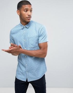 New Look Джинсовая рубашка классического кроя с принтом. Цвет: синий
