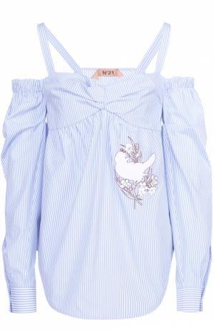 Топ прямого кроя в полоску с открытыми плечами No. 21. Цвет: голубой