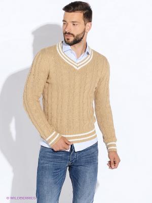 Пуловер Oodji. Цвет: бежевый