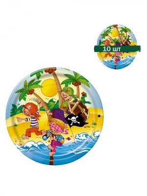 Набор одноразовых десертных тарелок Пираты, диаметр 22,5 см, 10 шт/упак Bulgaree Green. Цвет: темно-коричневый, красный