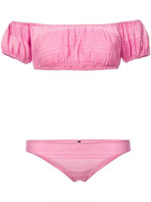 Бикини с заниженной линией плеч Lisa Marie Fernandez. Цвет: розовый и фиолетовый
