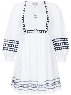 Платье с кружевной вставкой Sea. Цвет: белый