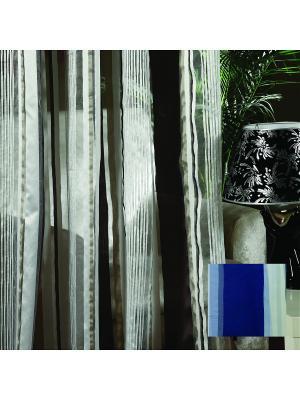 Тюль, органза Синие полоски, 300*275 см Ambesonne. Цвет: синий, белый, голубой, серый