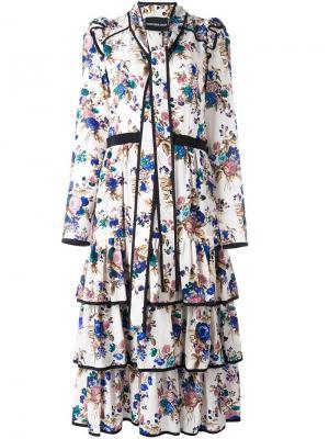Платье с цветочным принтом Marco Bologna. Цвет: телесный