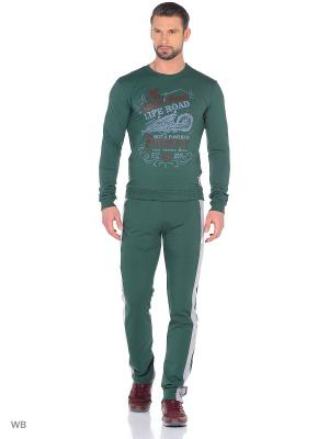 Спортивный костюм Runika. Цвет: зеленый, серый