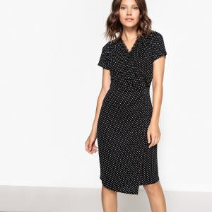 Платье облегающее средней длины в горох La Redoute Collections. Цвет: черный наб. рисунок белый