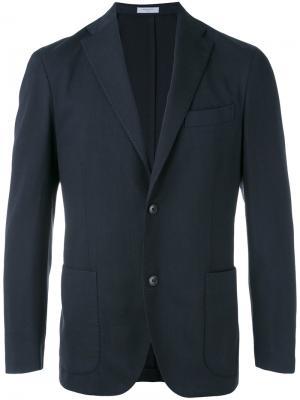 Приталенный пиджак Boglioli. Цвет: синий
