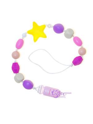 Клипса-держатель из пищевого силикона Розовый песок iSюминка. Цвет: фиолетовый,розовый,желтый