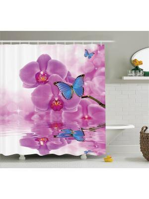 Фотоштора для ванной Бабочки на цветах орхидеи, 180*200 см Magic Lady. Цвет: голубой, белый, розовый, фиолетовый