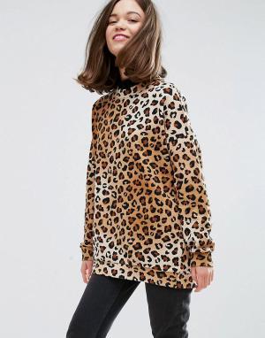 Monki Свитшот с леопардовым принтом. Цвет: коричневый