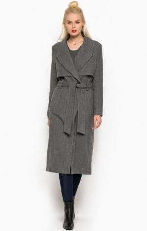 Серое пальто из шерсти и полиамида с поясом DRYKORN. Цвет: серый