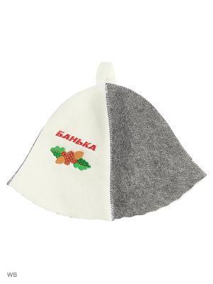 Шапка для бани с вышивкой в косметичке  Банька Метиз. Цвет: белый, серый