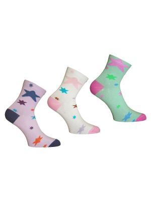 Носки 3 пары Master Socks. Цвет: бирюзовый, сиреневый, белый