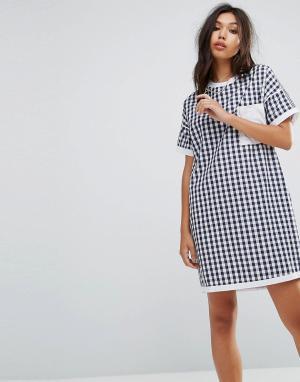 Uncivilised Платье-футболка в клетку. Цвет: темно-синий