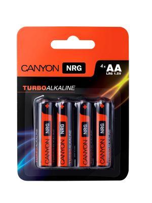 Батарейки, Canyon NRG alkaline battery AA, 4pcs/pack.. Цвет: черный