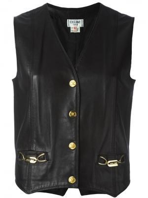 Кожаный жилет Céline Vintage. Цвет: чёрный