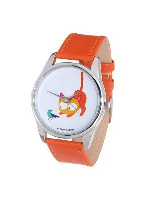 Часы Mitya Veselkov Кошка и птичка (рыжий) Арт. Color-75. Цвет: золотистый