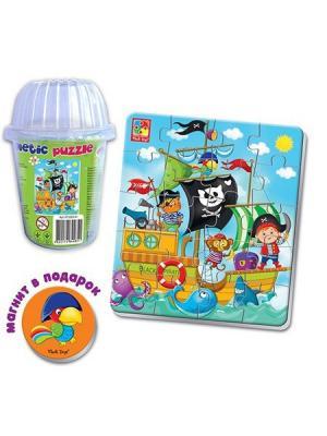 Мягкие магнитные пазлы в стакане Пираты Vladi Toys. Цвет: белый, желтый, красный, синий