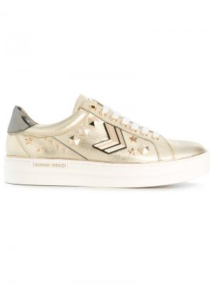 Embellished lace-up sneakers Gianni Renzi. Цвет: металлический
