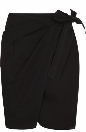 Мини-юбка с запахом и накладным карманом Isabel Marant Etoile. Цвет: черный