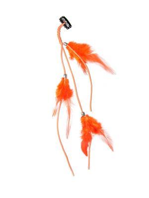 Зажим с перьями Lola. Цвет: оранжевый