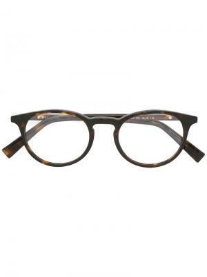 Оптические очки в круглой оправе Ermenegildo Zegna. Цвет: чёрный