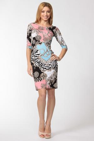 Платье Cariba. Цвет: розово-бело-голубо-черный