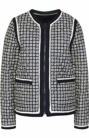 Двустороння куртка на молнии Tory Burch. Цвет: темно-синий