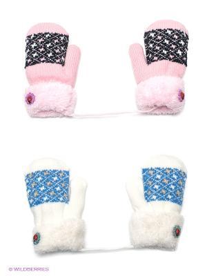 Варежки, 2 пары FOMAS. Цвет: розовый, белый, голубой