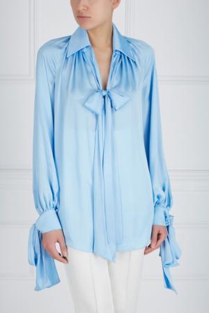 Шелковая блузка Ester Abner. Цвет: голубой