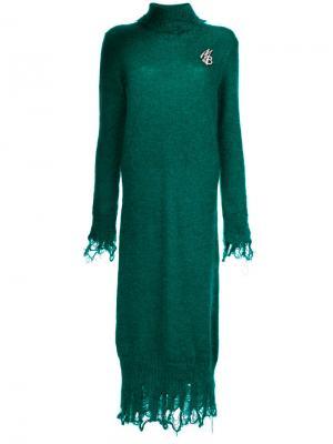 Вязаное платье с высоким воротником Marco Bologna. Цвет: зелёный