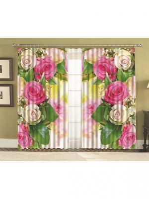 Комплект шторы  Габи 150*270 (2) + тюль МарТекс. Цвет: зеленый, бежевый, розовый